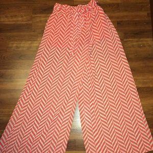 Orange & White Transparent Chevron Resort Pants